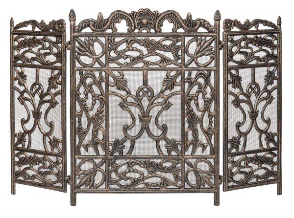 Dagan Three Fold Antique Bronze Arched Fireplace Screen
