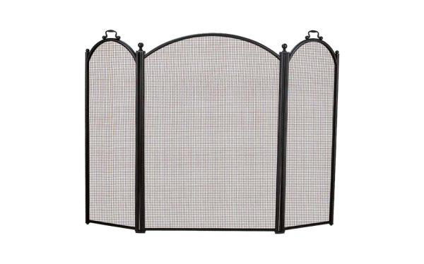 Dagan Three Fold Black Arched Fireplace Screen