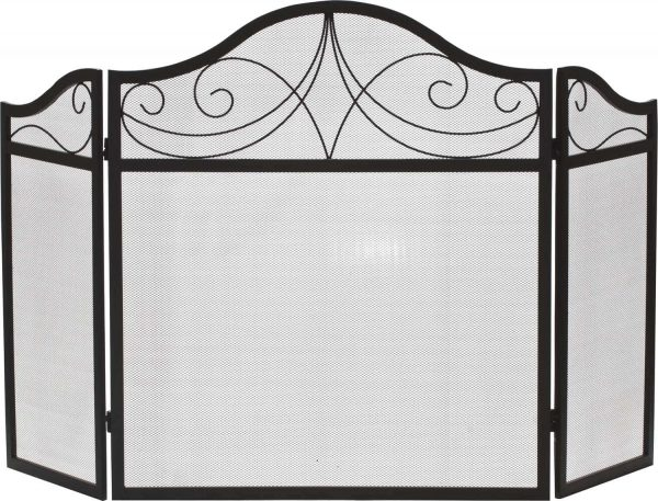 Dagan Three Fold Black Wrought Iron Arched Fireplace Screen
