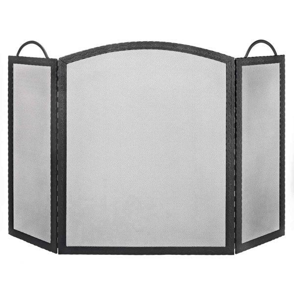 Dagan Three Fold Black Wrought Iron Arched Fireplace Screen