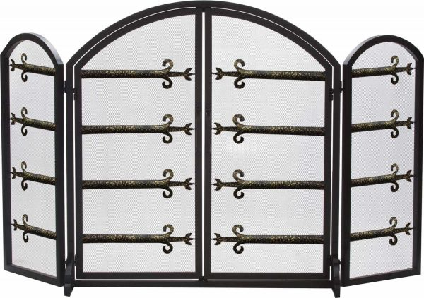 Dagan Three Fold Black and Antique Gold Arched Fireplace Screen with Doors