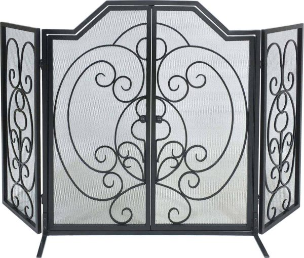 Dagan Three Fold Center Arched Scroll Design Black Wrought Iron Screen with Doors