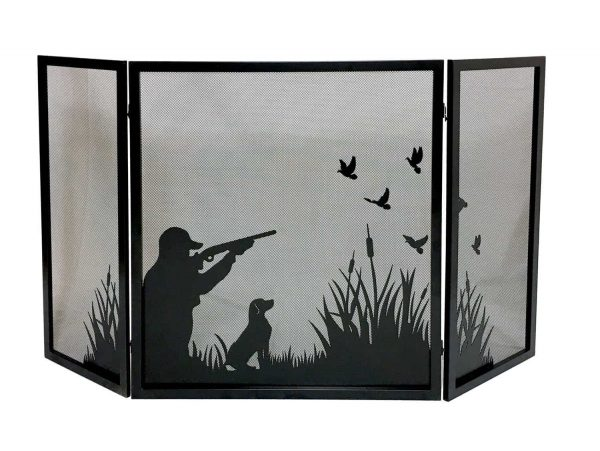 Dagan Three Fold Fireplace Screen with Duck Hunting Design