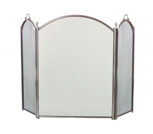 Dagan Three Fold Pewter Arched Fireplace Screen