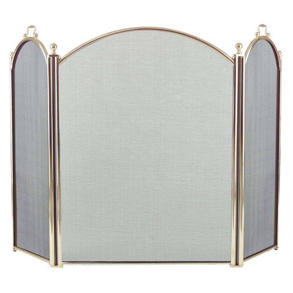 Dagan Three Fold Polished Brass Arched Fireplace Screen