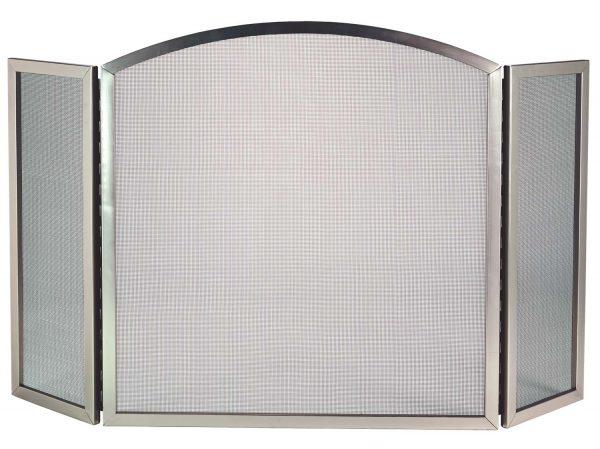 Dagan Three Fold Satin Nickel Arched Fireplace Screen