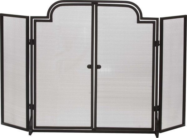 Dagan Three Fold Wrought Iron Arched Fireplace Screen with Doors