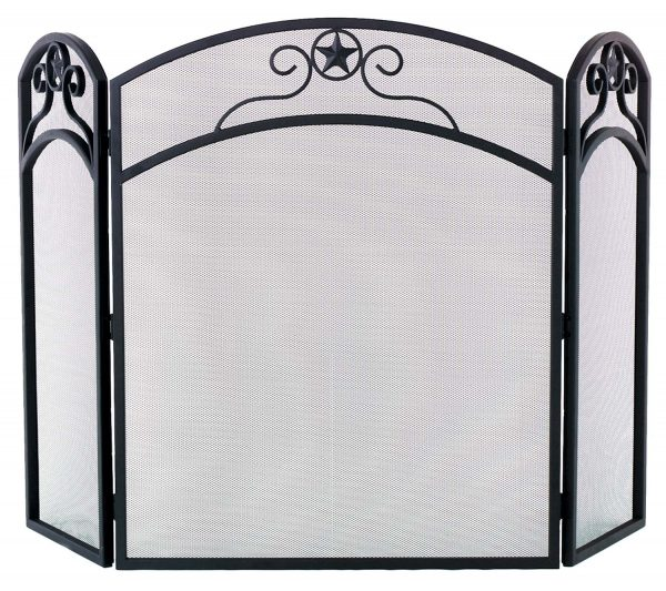 Dagan Three Fold Wrought Iron Arched Fireplace Screen with Star Design
