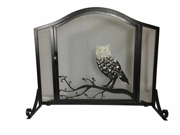 Dagan Wrought Iron Arched Fireplace Screen with Door with Owl Design