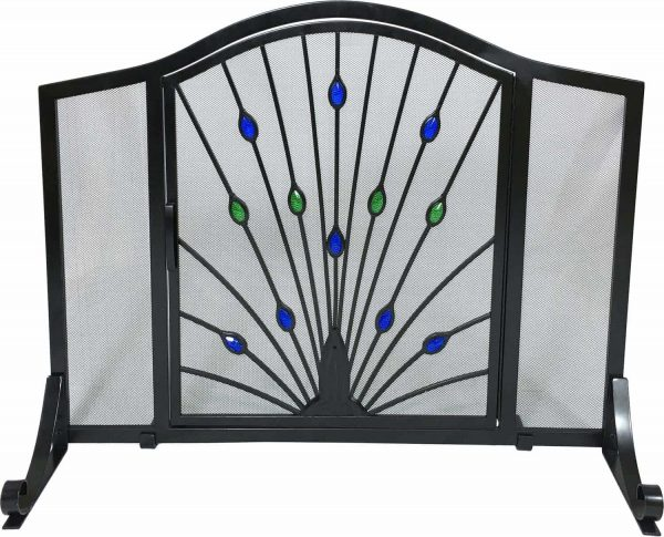 Dagan Wrought Iron Arched Fireplace Screen with Door with Peacock Design