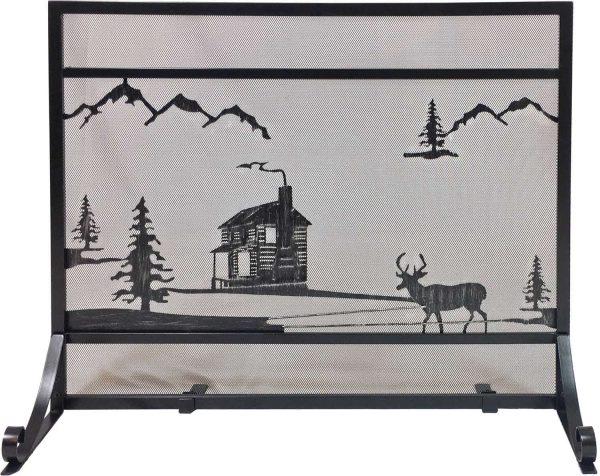 Dagan Wrought Iron Fireplace Screen with Cabin Design