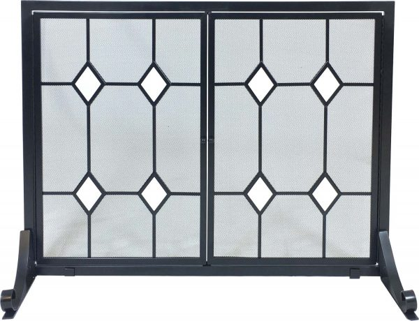 Dagan Wrought Iron Fireplace Screen with Doors with Glass Diamond Design