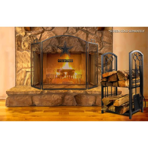 Dallas Cowboys Imperial Fireplace Wood Holder & Tool Set - Brown 2