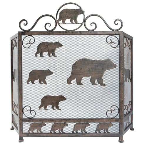 De Leon Collections Bear 3 Panel Metal Fireplace Screen