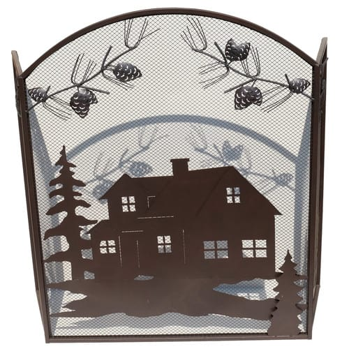 De Leon Collections Home Image 3 Panel Metal Fireplace Screen