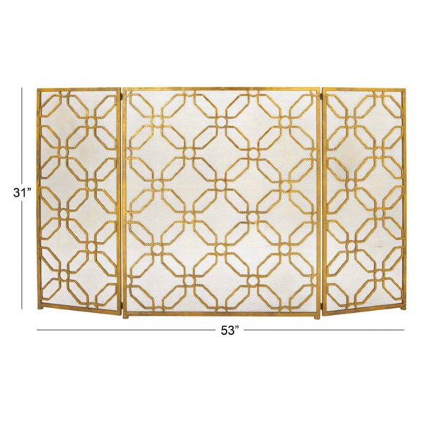 Decmode - Contemporary 31 x 53 inch gold tin three-panel fire screen 1