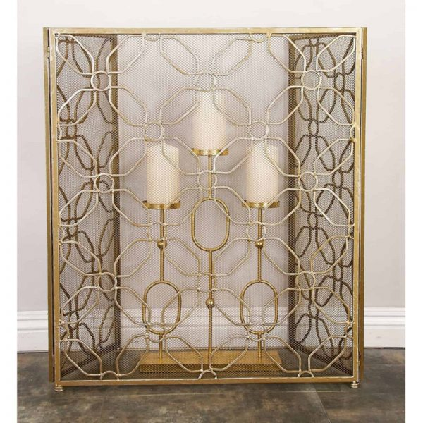 Decmode - Contemporary 31 x 53 inch gold tin three-panel fire screen 2