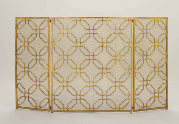 Decmode - Contemporary 31 x 53 inch gold tin three-panel fire screen