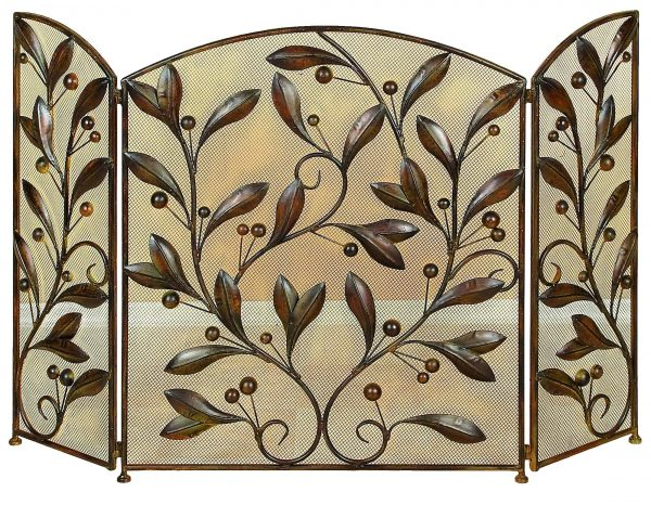Decmode - Large 3-Panel Brown Metal Fireplace Screen with Vines