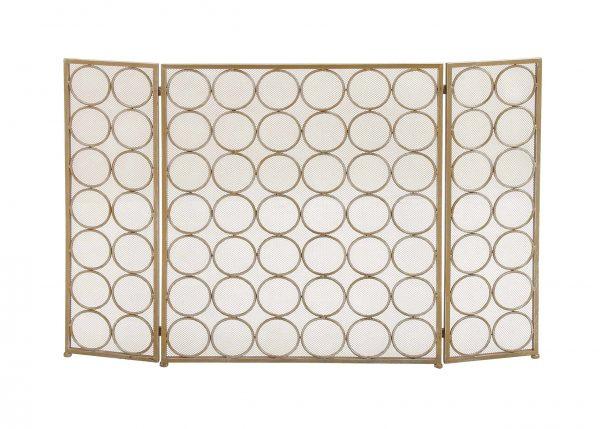 Decmode - Large 3-Panel Silver Metal Fireplace Screen
