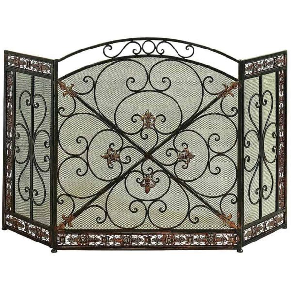 Decmode - Traditional Style Decorative Black and Bronze Metal Fireplace Screen with Fleur de Lis Accents
