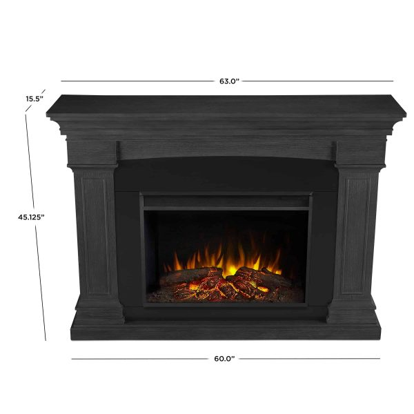 Deland Grand Electric Fireplace in Gray by Real Flame 5
