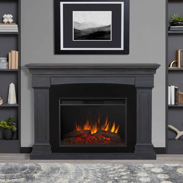 Deland Grand Electric Fireplace in Gray by Real Flame