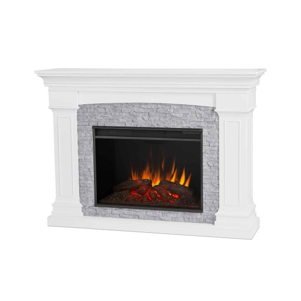 Deland Grand Electric Fireplace in White by Real Flame 1