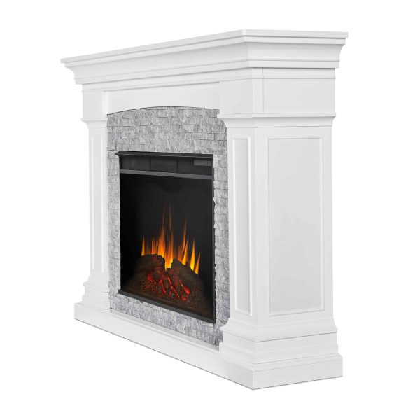 Deland Grand Electric Fireplace in White by Real Flame 2