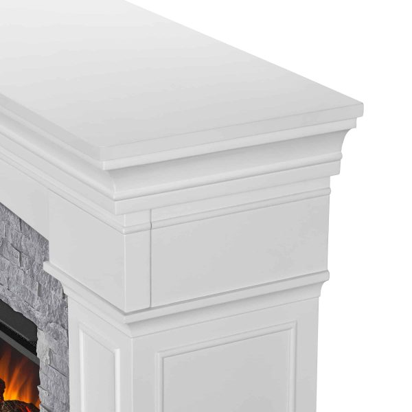 Deland Grand Electric Fireplace in White by Real Flame 3