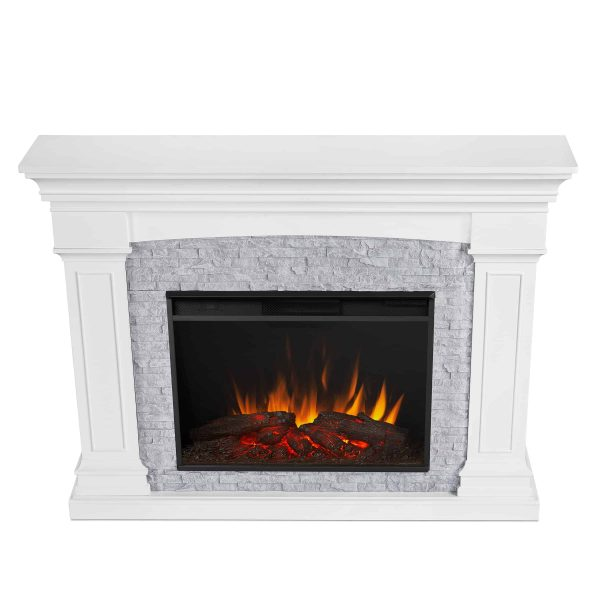 Deland Grand Electric Fireplace in White by Real Flame 4