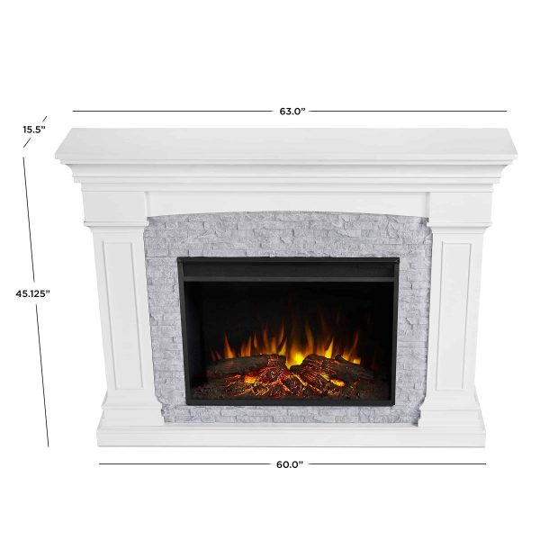 Deland Grand Electric Fireplace in White by Real Flame 5