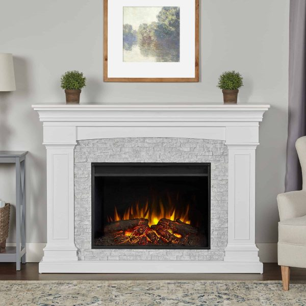Deland Grand Electric Fireplace in White by Real Flame