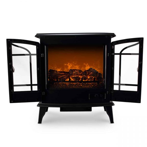 Della 1400W Electric Stove Heater Fireplace 25-Inch Freestanding 3D Flame Log Stove Firebox 4