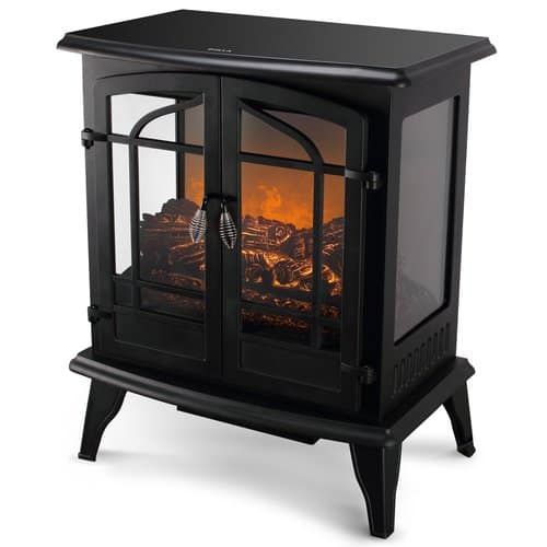 Della 1400W Electric Stove Heater Fireplace 25-Inch Freestanding 3D Flame Log Stove Firebox