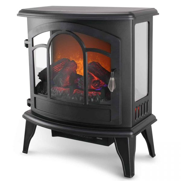 "Della 20"" Freestanding Electric Fireplace Heater Flame Display Log Wood Remote, 1400W 1"