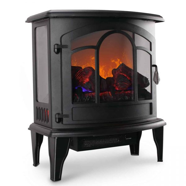 "Della 20"" Freestanding Electric Fireplace Heater Flame Display Log Wood Remote"