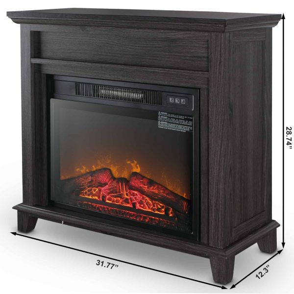 "Della 23"" Electric Stove Portable Fireplace with Infrared 3D Flame and Burning Log Effect Settings, Gray 4"
