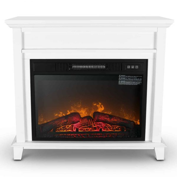 "Della Furniture 28"" Mantel Electric Fireplace Heater with 3 Flame Settings and Remote Control, White 4"