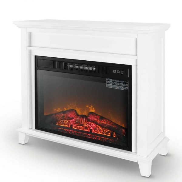 "Della Furniture 28"" Mantel Electric Fireplace Heater with 3 Flame Settings and Remote Control"