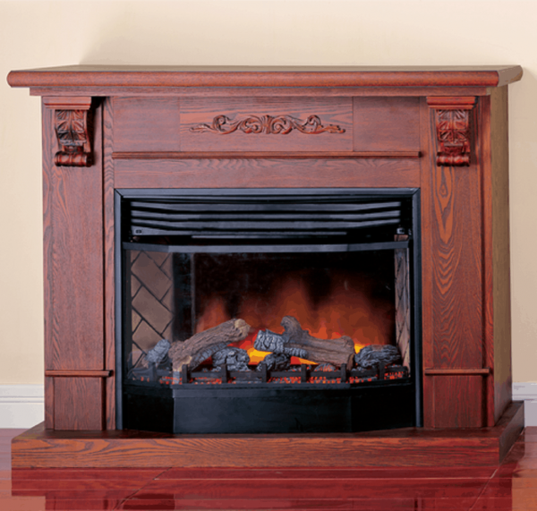 Deluxe Full Size Electric Fireplace With Remote Control - Dark Oak Finish