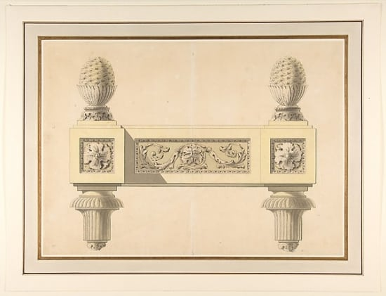 "Design for Andirons Poster Print by Jean Louis Prieur le Jeune (French Paris 1759 ""1795 Paris) (18 x 24)"