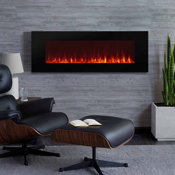 DiNatale Wall-Mounted Electric Fireplace in Black by Real Flame