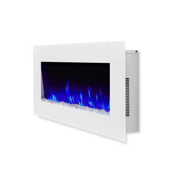 DiNatale Wall-Mounted Electric Fireplace in White by Real Flame 2