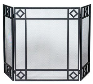 Diamond Design Black 3-Fold Screen