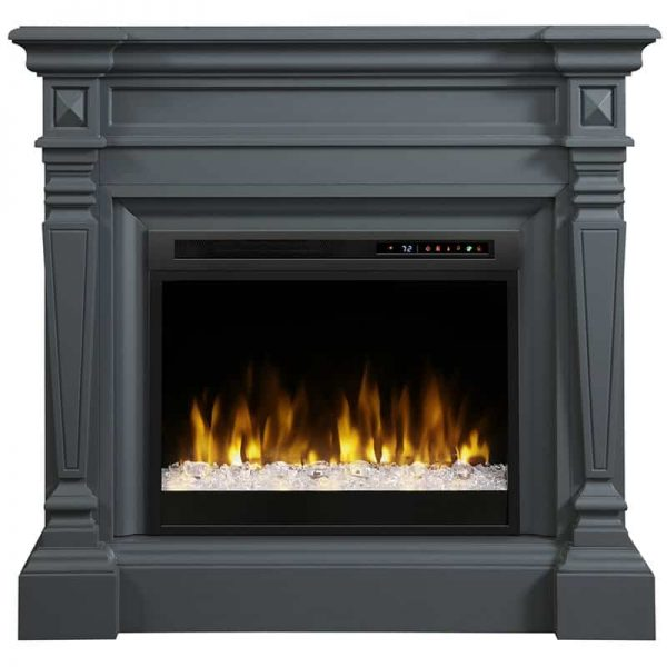 Dimplex Heather Electric Fireplace Mantel With Glass Ember Bed, Wedgewood Grey 1