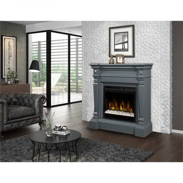 Dimplex Heather Electric Fireplace Mantel With Glass Ember Bed, Wedgewood Grey 2