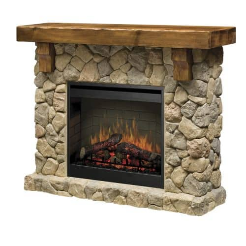 "Dimplex SMP-904-ST Fieldstone 26"" Self-Trimming Electric Fireplace with Rustic M"