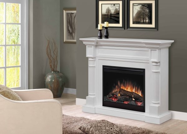 Dimplex Winston Mantel Electric Fireplace With Logs, White 1