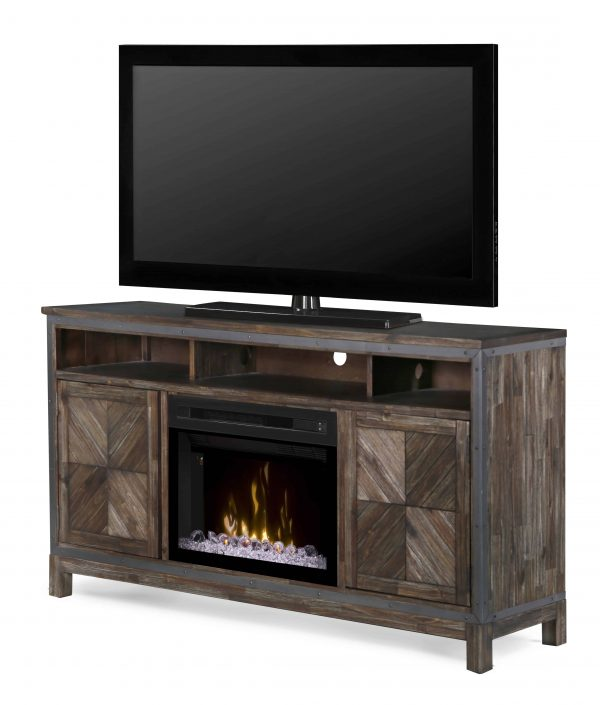 "Dimplex Wyatt Media Console Electric Fireplace With Acrylic Ember Bed for TVs up to 50"", Barley Brown 1"
